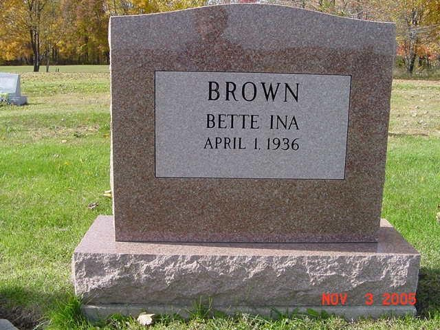 Bette Brown Tombstone