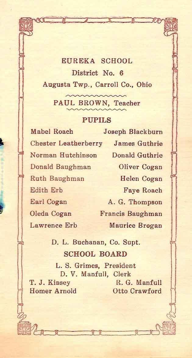 Paul E. Brown, Eureka School, 1928
