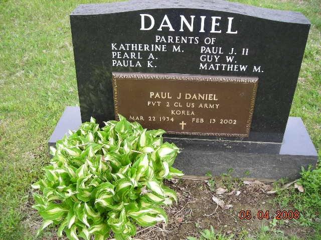Paul Joseph Daniel Military Marker