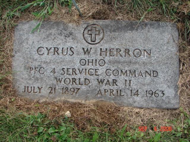 Cyrus Herron Military Marker